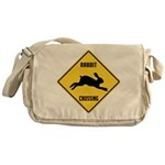 Rabbit Crossing Sign Messenger Bag