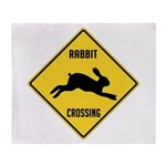Rabbit Crossing Sign Throw Blanket