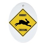 Rabbit Crossing Sign Ornament (Oval)