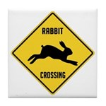 Rabbit Crossing Sign Tile Coaster