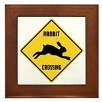 Rabbit Crossing Sign Framed Tile