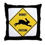 Rabbit Crossing Sign Throw Pillow