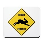 Rabbit Crossing Sign Mousepad
