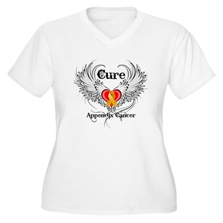 Cure Appendix Cancer Women's Plus Size V-Neck T-Sh