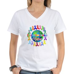 Cancer Awareness World Women's V-Neck T-Shirt