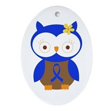 Blue Ribbon Owl Awareness Ornament (Oval)