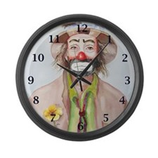 Large Wall Clock - clown with green shirt
