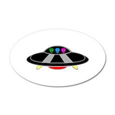 UFO Flying Saucer 38.5 x 24.5 Oval Wall Peel