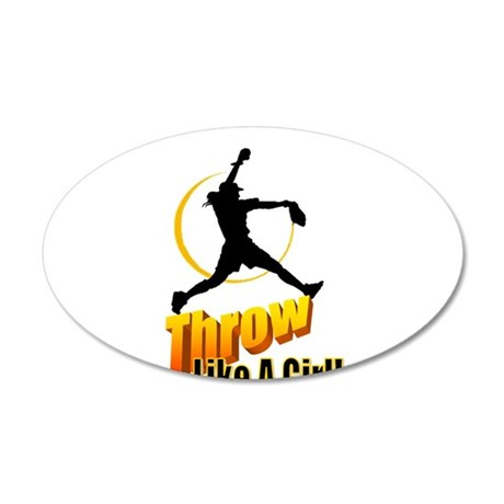 THROW LIKE A GIRL 38.5 x 24.5 Oval Wall Peel