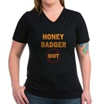 Honey Badger Don't Give a Shi Women's V-Neck Dark