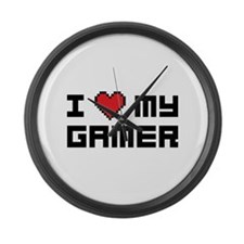 I Love My Gamer Large Wall Clock