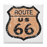 Retro Route 66 Road Sign Tile Coaster
