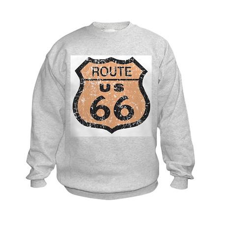 Retro Route 66 Road Sign Kids Sweatshirt