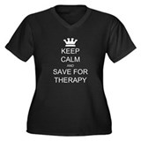 Keep Calm and Therapy Women's Plus Size V-Neck Dar