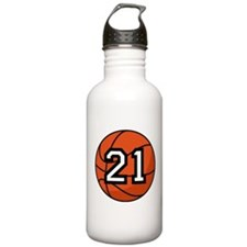 Basketball Player Number 21 Water Bottle