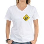 Butterfly Crossing Sign Women's V-Neck T-Shirt
