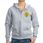 Butterfly Crossing Sign Women's Zip Hoodie