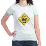 Butterfly Crossing Sign Jr. Ringer T-Shirt