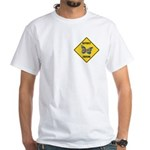 Butterfly Crossing Sign White T-Shirt