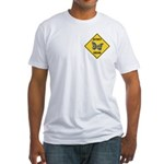 Butterfly Crossing Sign Fitted T-Shirt