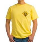 Butterfly Crossing Sign Yellow T-Shirt