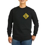 Butterfly Crossing Sign Long Sleeve Dark T-Shirt
