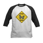 Butterfly Crossing Sign Kids Baseball Jersey