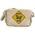 Butterfly Crossing Sign Messenger Bag