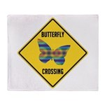 Butterfly Crossing Sign Throw Blanket