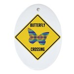 Butterfly Crossing Sign Ornament (Oval)