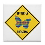 Butterfly Crossing Sign Tile Coaster