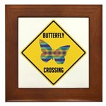 Butterfly Crossing Sign Framed Tile
