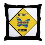 Butterfly Crossing Sign Throw Pillow