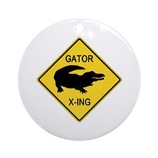 Alligator Crossing Sign Ornament (Round)