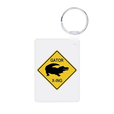 Alligator Crossing Sign Aluminum Photo Keychain