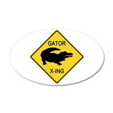 Alligator Crossing Sign 22x14 Oval Wall Peel