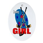 Hockey Girl Oval Ornament