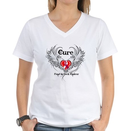 Cure Head Neck Cancer Women's V-Neck T-Shirt