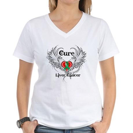 Cure Liver Cancer Women's V-Neck T-Shirt