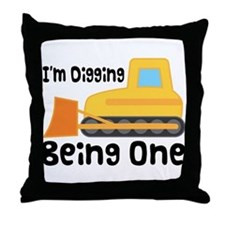 1st Birthday Bulldozer Throw Pillow