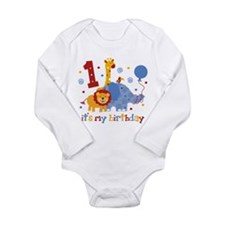 Safari 1st Birthday Long Sleeve Infant Bodysuit