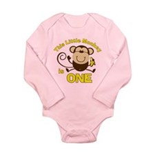 Little Monkey 1st Birthday Boy LS Infant Bodysuit