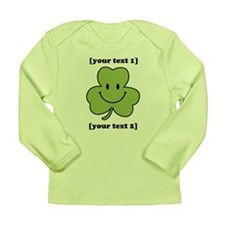 [Your text] Shamrock Smiley Long Sleeve Infant T-S