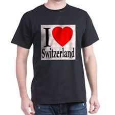 I Love Switzerland Black T-Shirt