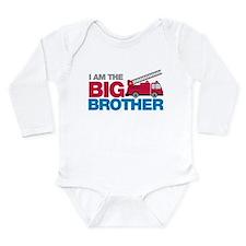 Firetruck Big Brother Long Sleeve Infant Bodysuit