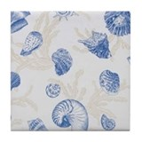 Blue Sea Shell Tile Coaster