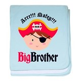 Brown Hair Pirate Big Brother baby blanket