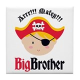 Blonde Hair Pirate Big Brother Tile Coaster