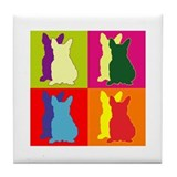 French Bulldog Silhouette Pop Art Tile Coaster