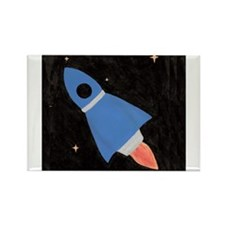 Blue Rocket Ship in Outer Spa Rectangle Magnet